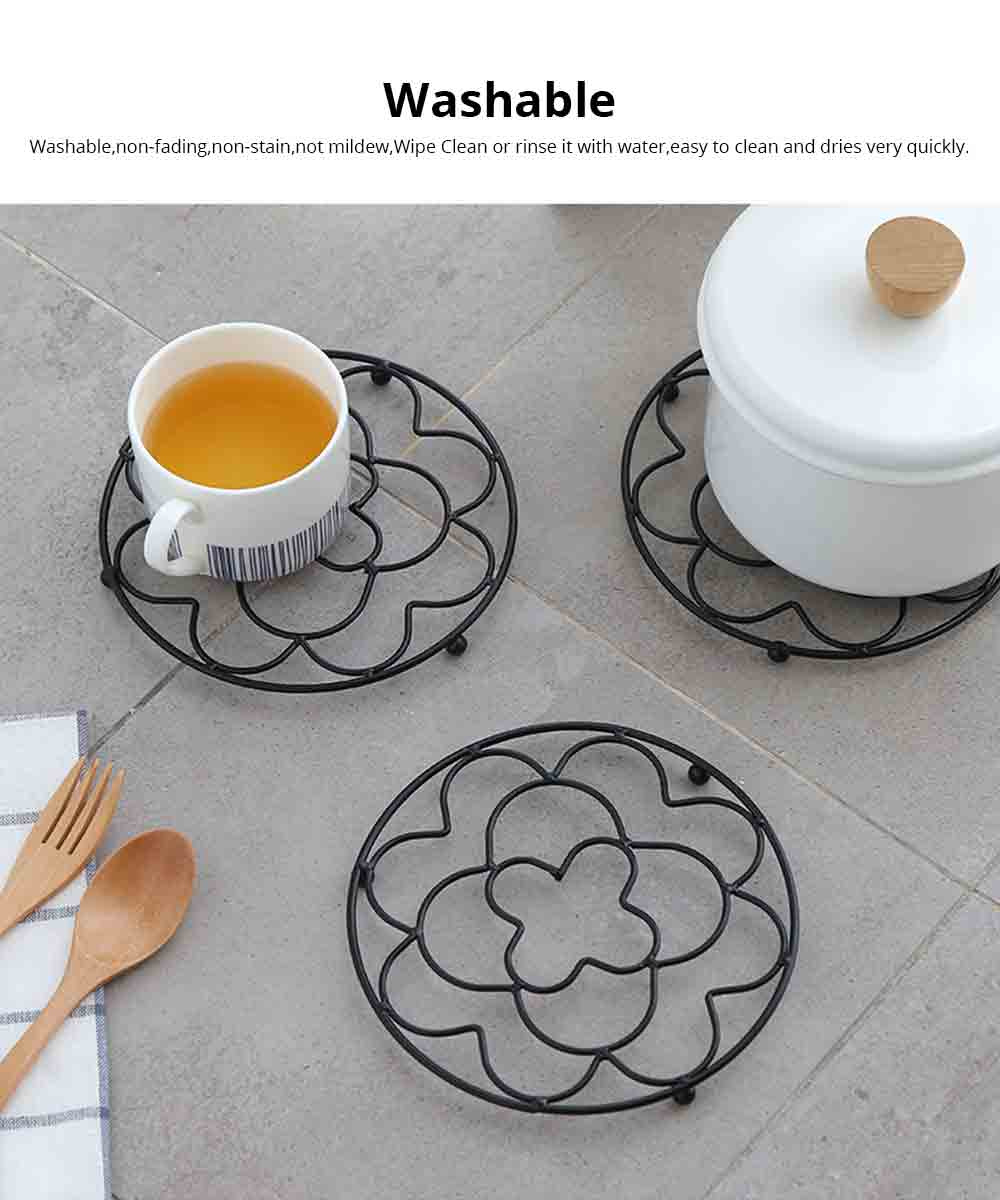 Placemat Creative Anti-hot Iron Round Table Pot Mat Kitchen Accessory Simple Casserole Pad Bowl Mat Coaster 4