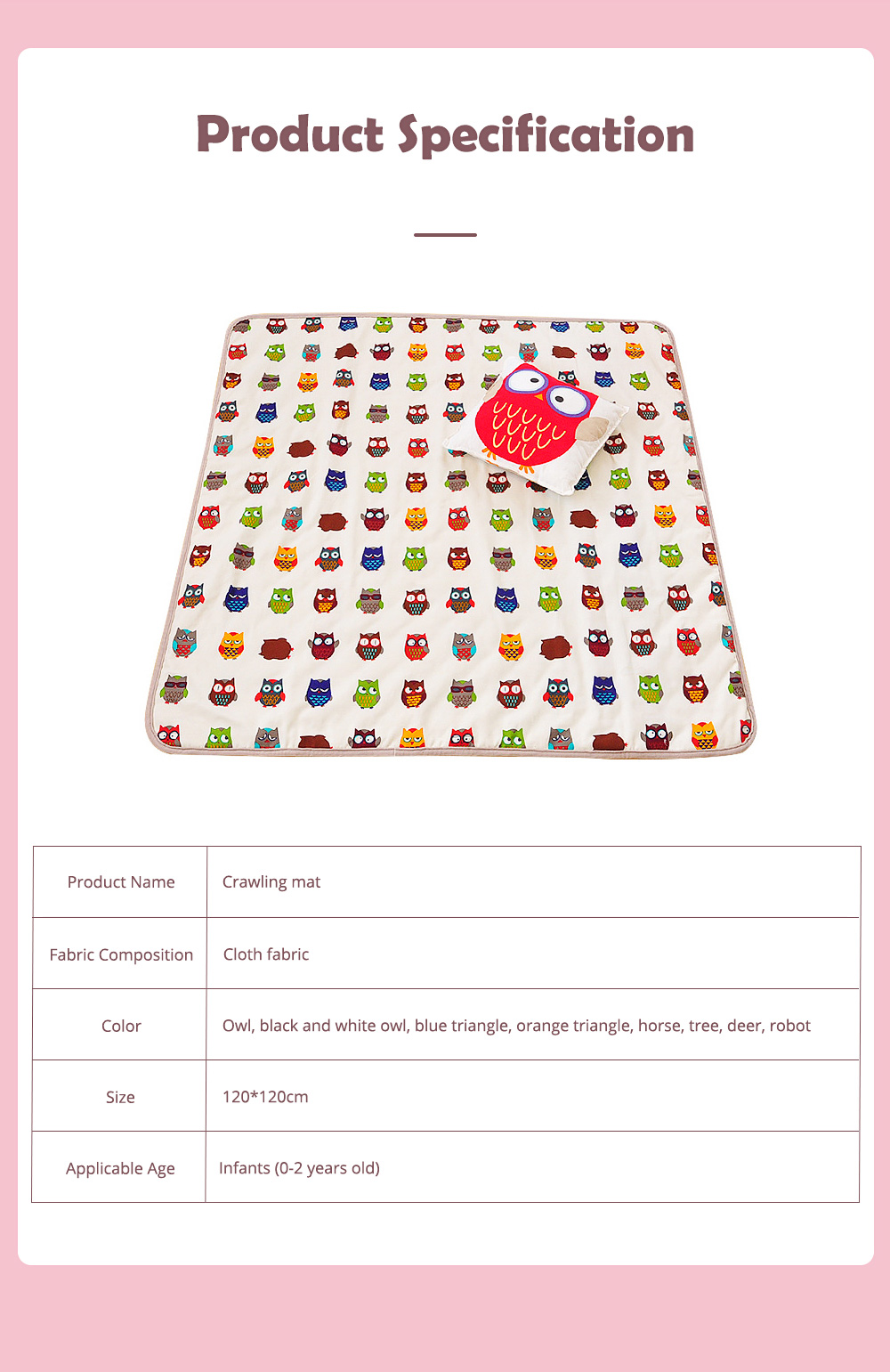 Crawling Mat for 0-2 Year's Old Baby Cute Pattern Quadrilateral Ground Mat Non-slip Hand and Machine Wash Tent Cushion 8