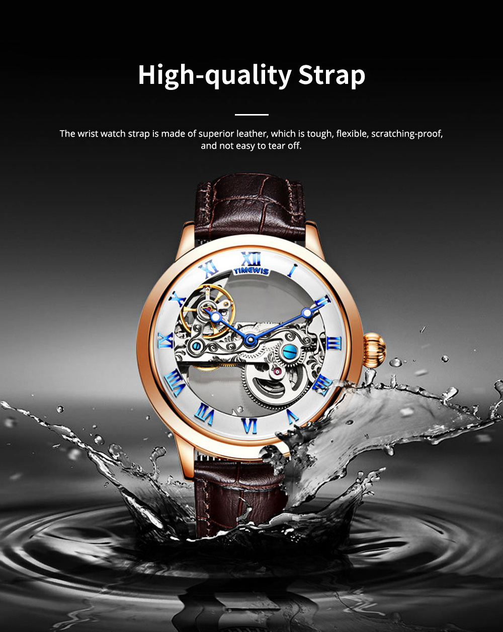 Waterproof Mechanical Watch for Men Transparent Fashionable with Leather Band Strap Scratchproof 1