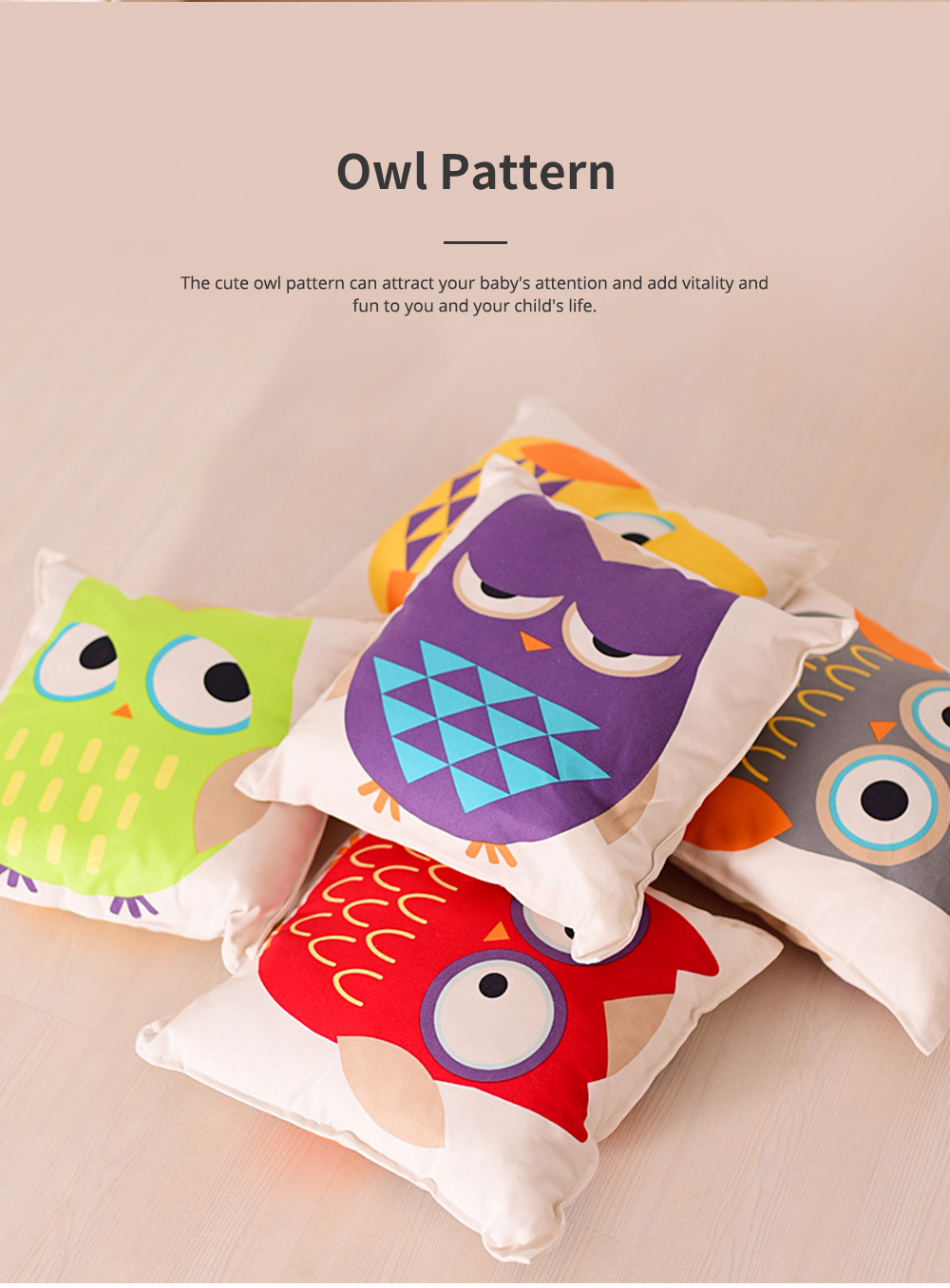 Lovely Owl Pattern Pillow for Car Home Sofa Cotton Pillow with Owl Image Cushion for Sofa 4