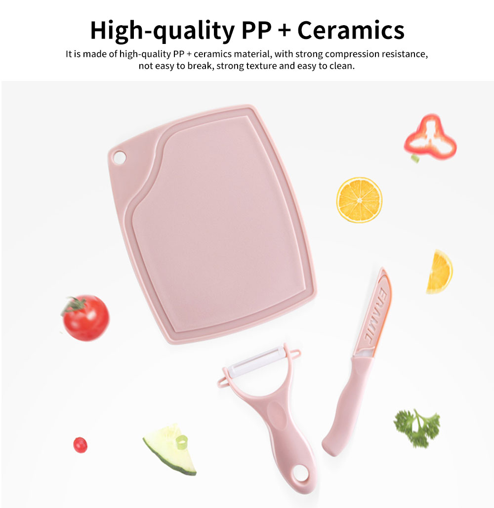 Home Ceramic Kitchen Three-piece Set with Sharp Fruit Knife, Practical Peeler, Grooves Cutting Board 5