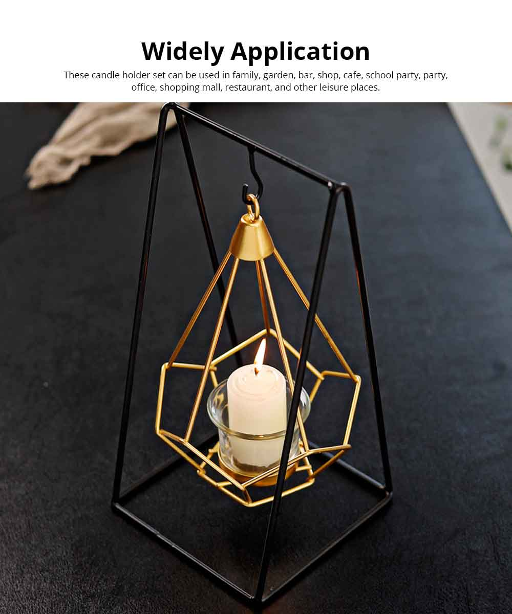 Candlestick Nordic Ins Geometric Wrought Iron Hanging Candle Holder Modern Home Decor Table Candle Decor Shooting Props Gold & Black 4