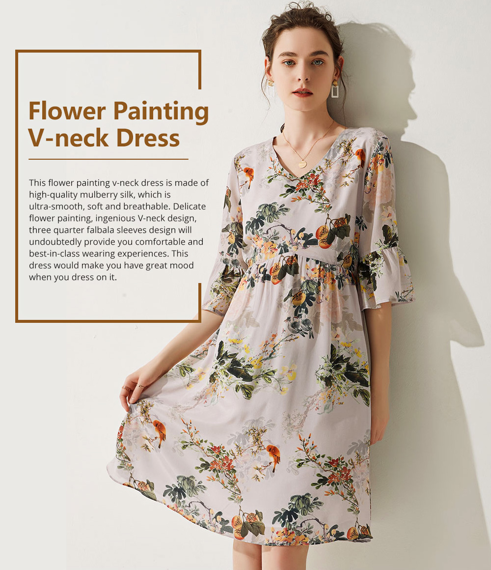 Elegant Fancy Stylish Flower Painting V-neck High-waist Three Quarter Falbala Sleeve Dress Atmosphere A-Type Ladies Dress 0