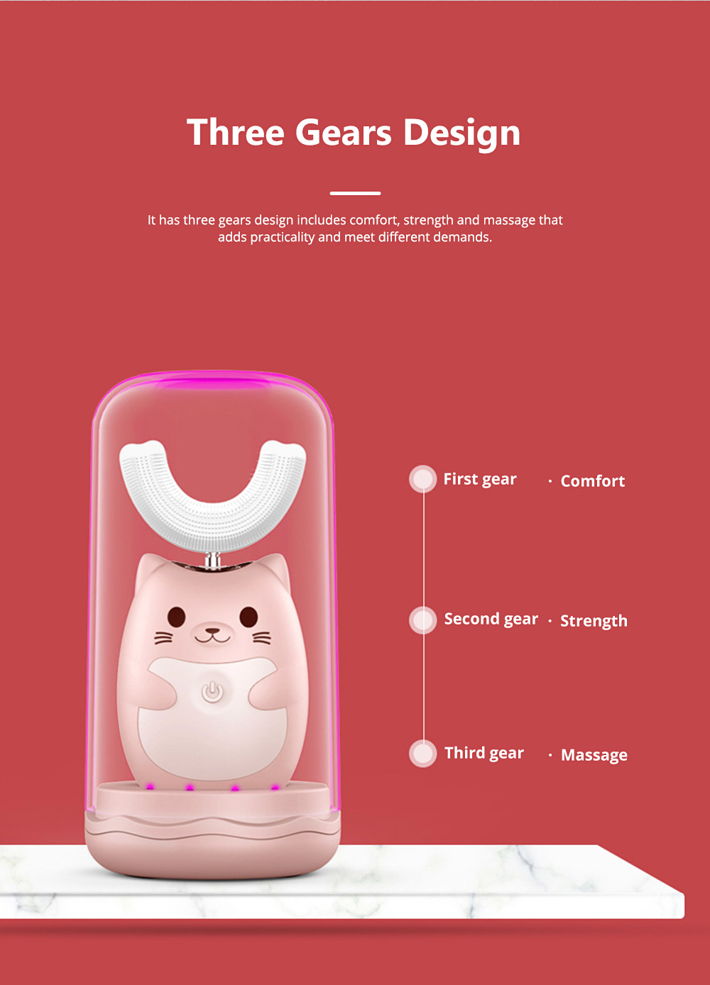 Electric Toothbrush for Children Cute Cat Appearance Three Gears U Shape Brush Waterproof Magnetic Suction Charging Brush Tool 3