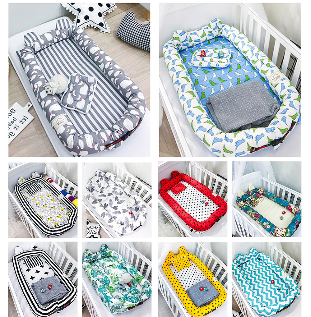 Children Reactive Dyeing Crib for 0-3 Years Old Baby with Comfortable Pillow Invisible Zipper Cotton Fabric Baby Bionic Bed 3