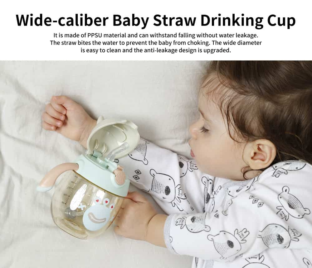 Baby Straw Drinking Cup with Handle Baby Bottle, Wide Caliber Gravity Ball Shatter-resistant Cup 0