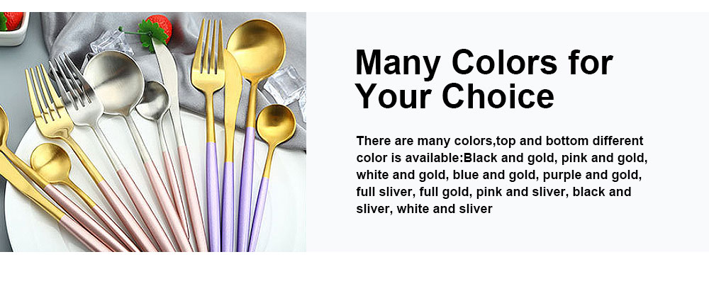 High Quality Gold/Black/White/Blue/Purple Pink Flatware Set, Polish Mirror Cutlery set, Include Knife/Fork/Spoon, Dishwasher Safe, Hotel Restaurant Stainless steel Utensils 5