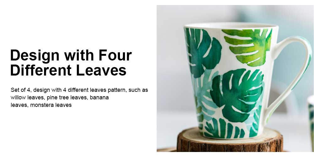 Funny Mugs Set of 4, Coffee Mugs Milk Cups with Leaf Pattern, Porcelain Mugs for Men and Women Travel or Household 3