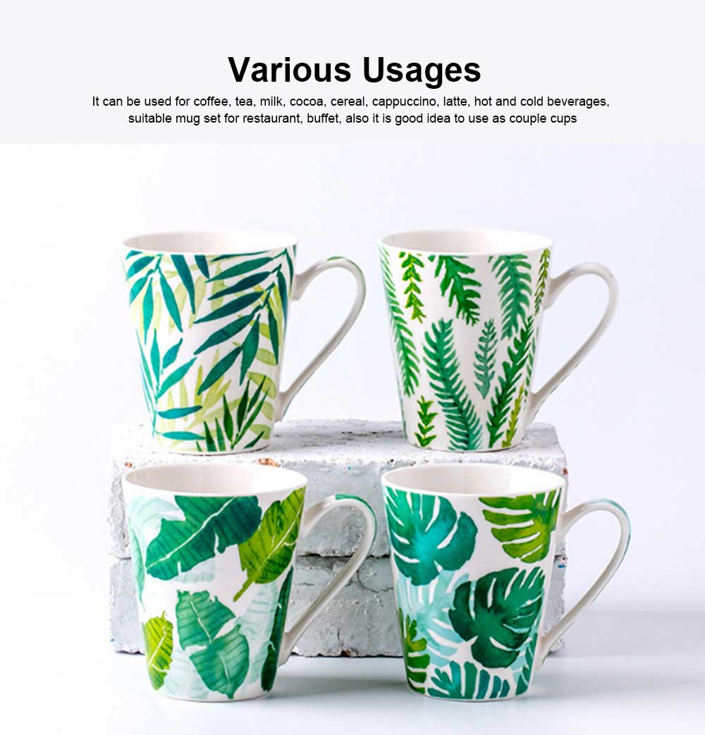 Funny Mugs Set of 4, Coffee Mugs Milk Cups with Leaf Pattern, Porcelain Mugs for Men and Women Travel or Household 4