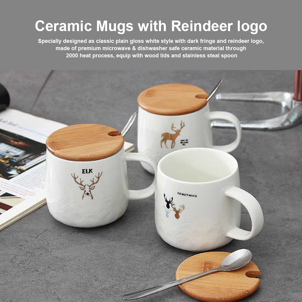 Christmas Ceramic Mugs with Reindeer Logo, Porcelain Mug with Wood Lids, Coffee Mugs with Stainless Steal Spoon, Special Dark Fringe Appearance 0