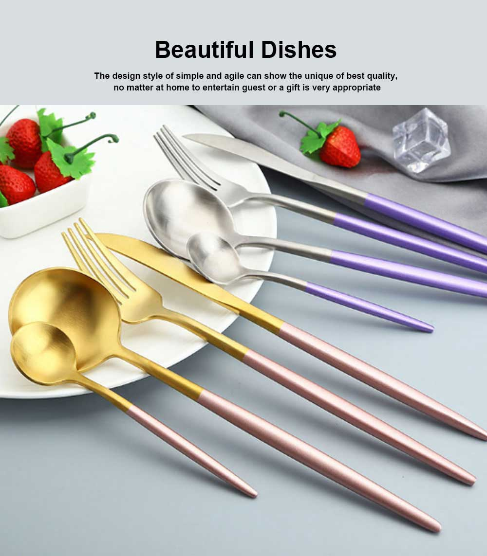 High Quality Gold/Black/White/Blue/Purple Pink Flatware Set, Polish Mirror Cutlery set, Include Knife/Fork/Spoon, Dishwasher Safe, Hotel Restaurant Stainless steel Utensils 4
