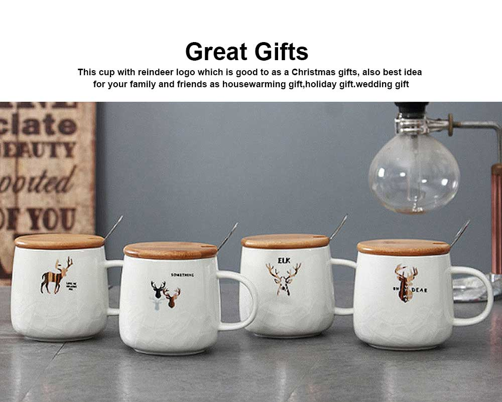 Christmas Ceramic Mugs with Reindeer Logo, Porcelain Mug with Wood Lids, Coffee Mugs with Stainless Steal Spoon, Special Dark Fringe Appearance 4