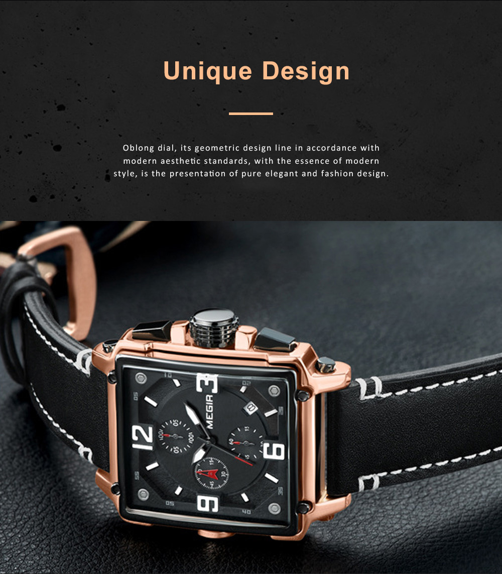 Retro Oblong Watch for Men with Quartz Movement and Leather Strap Waterproof Wrist Watch with Luminous Display 4