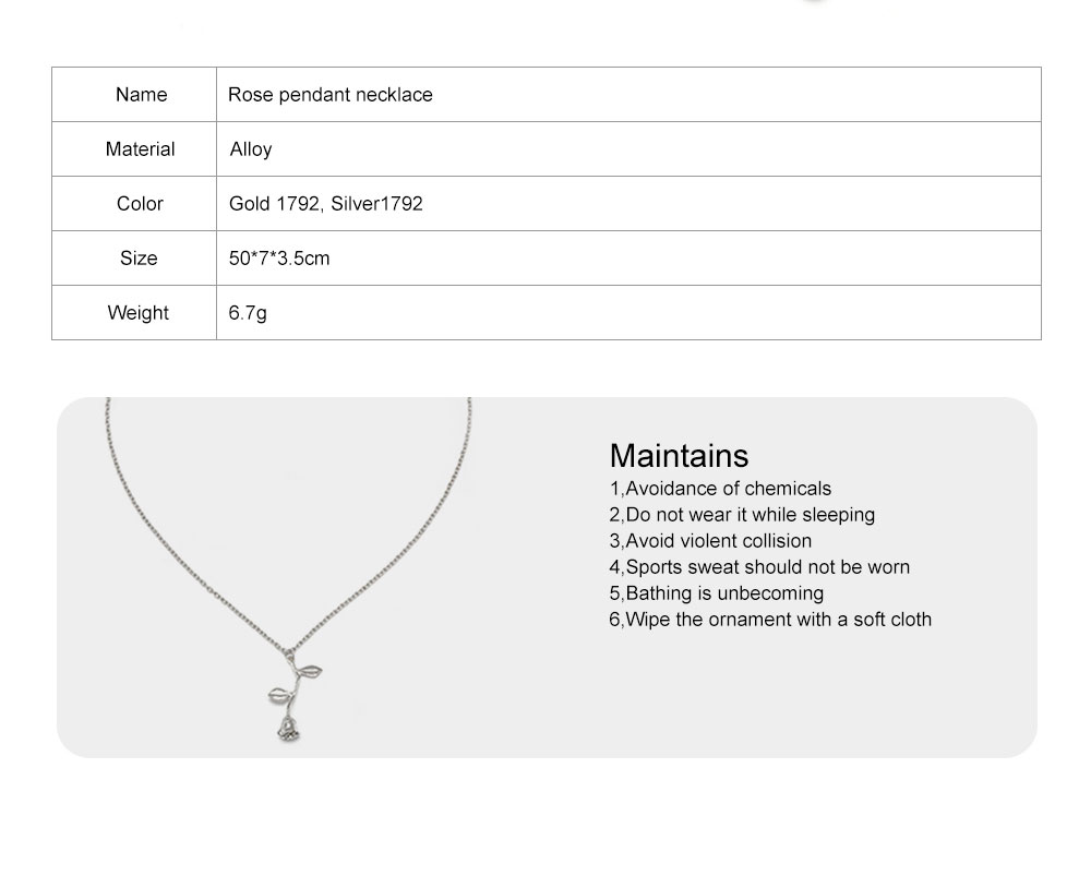 Mother Day Gift Retro Ethnic Style Clavicle Necklace with An Texture Alloy Rose Pendant, Best Gift for Ladies 8