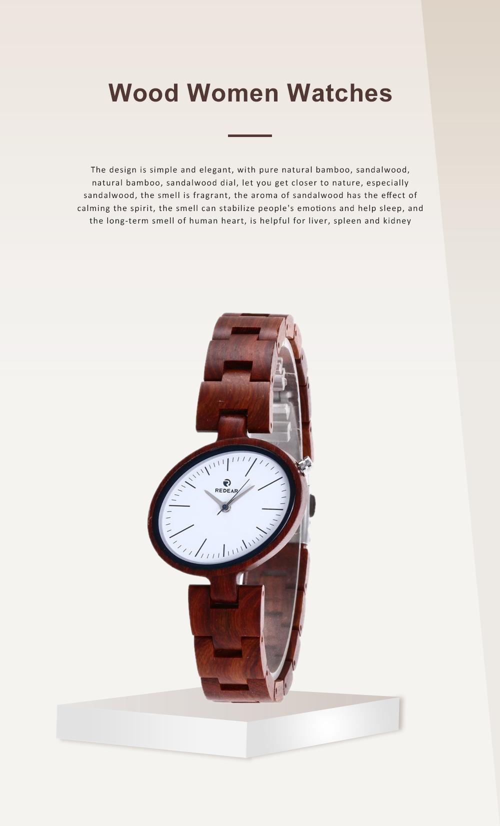 Women Watches Elegant Wood Band Stainless Steel Quartz Wrist Bamboo Watch With Waterproof Wristwatch For Ladies Girls 0