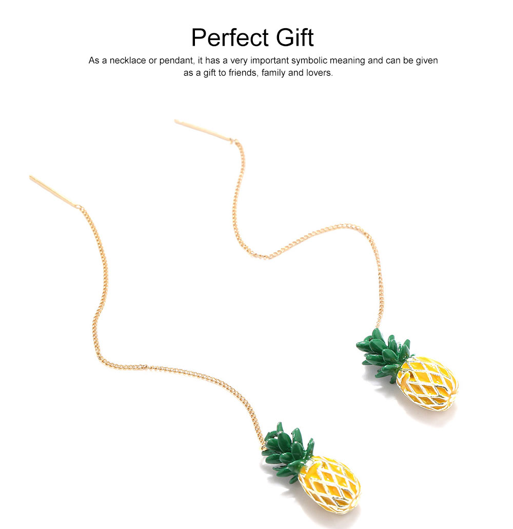 Retro Ethnic Style Ear Stud & Pendant & Necklace with Alloy Dripping Oil & Pineapple Pendant, Best Gift for Ladies 2