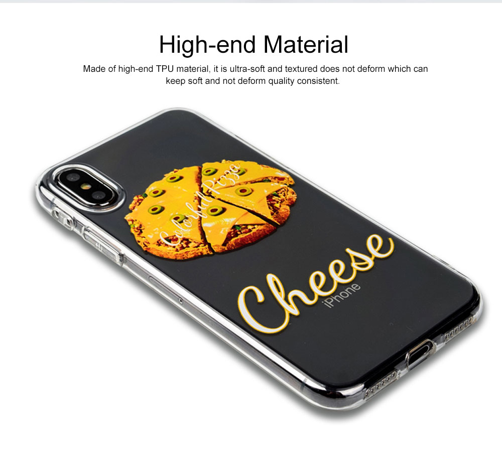 Mobile Phone Case with Cheese Pizza Pattern & Transparent Edge, Precise Audio Charging Hole Location Phone Shell for iPhone 6s Plus, iPhone 7 8, iPhone 7/8 plus, iPhone X/XS MAX, iPhone XR 1