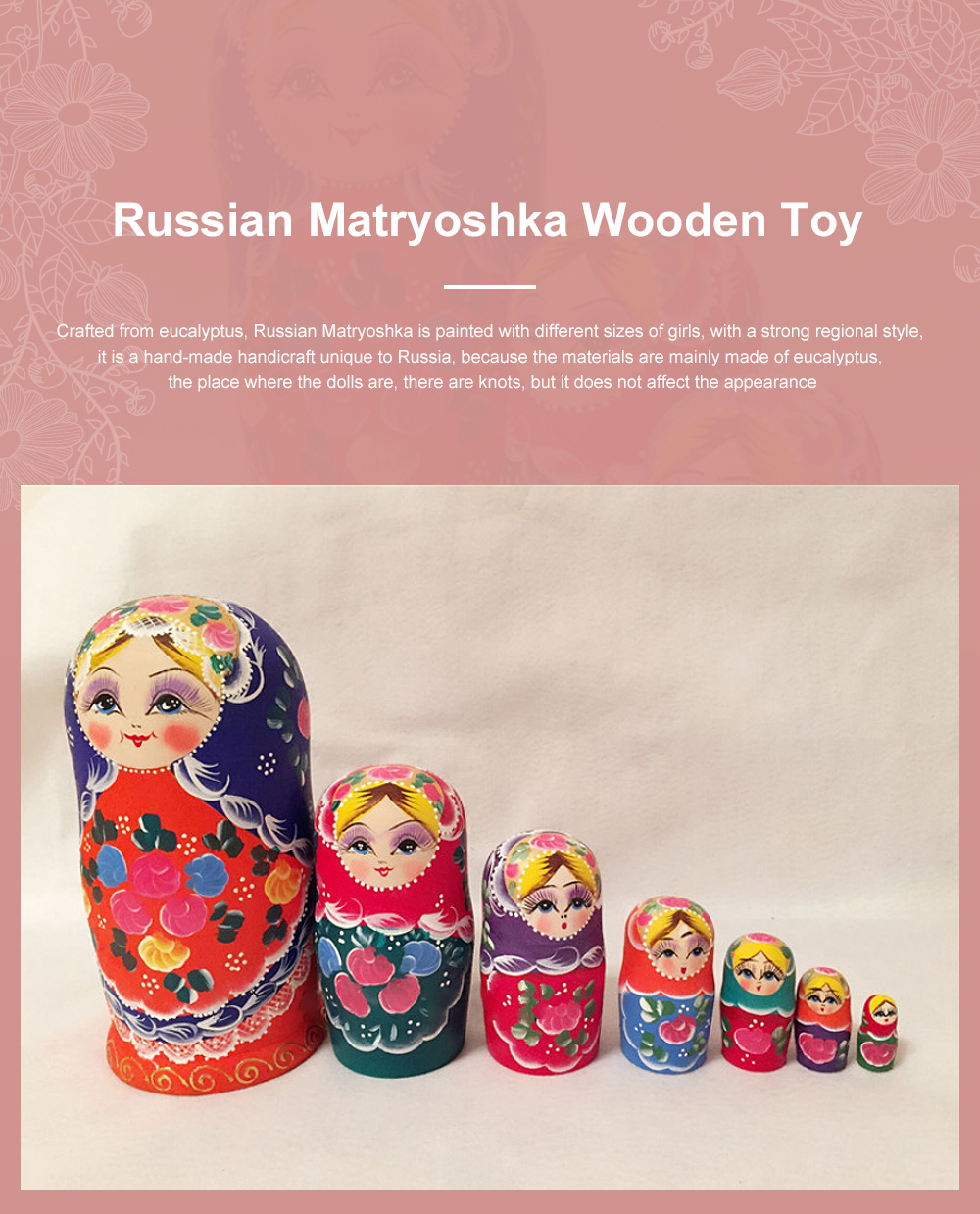Matryoshka Dolls Nesting Stacking Wooden Russian Toys with Flower Ornament Hand Painted Wood Souvenir Folk Art Crafts 0
