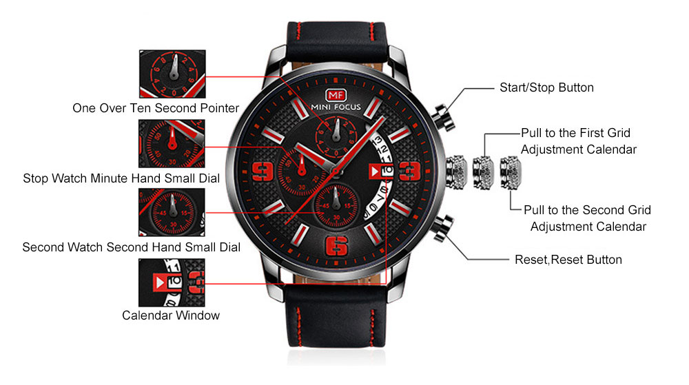 Smart Electronic Watch with Multifunctional Rotary Calendar, 30M Waterproof Males Watch with Wear Resistant Crystal Watch Mirror Genuine Leather Wristband 6