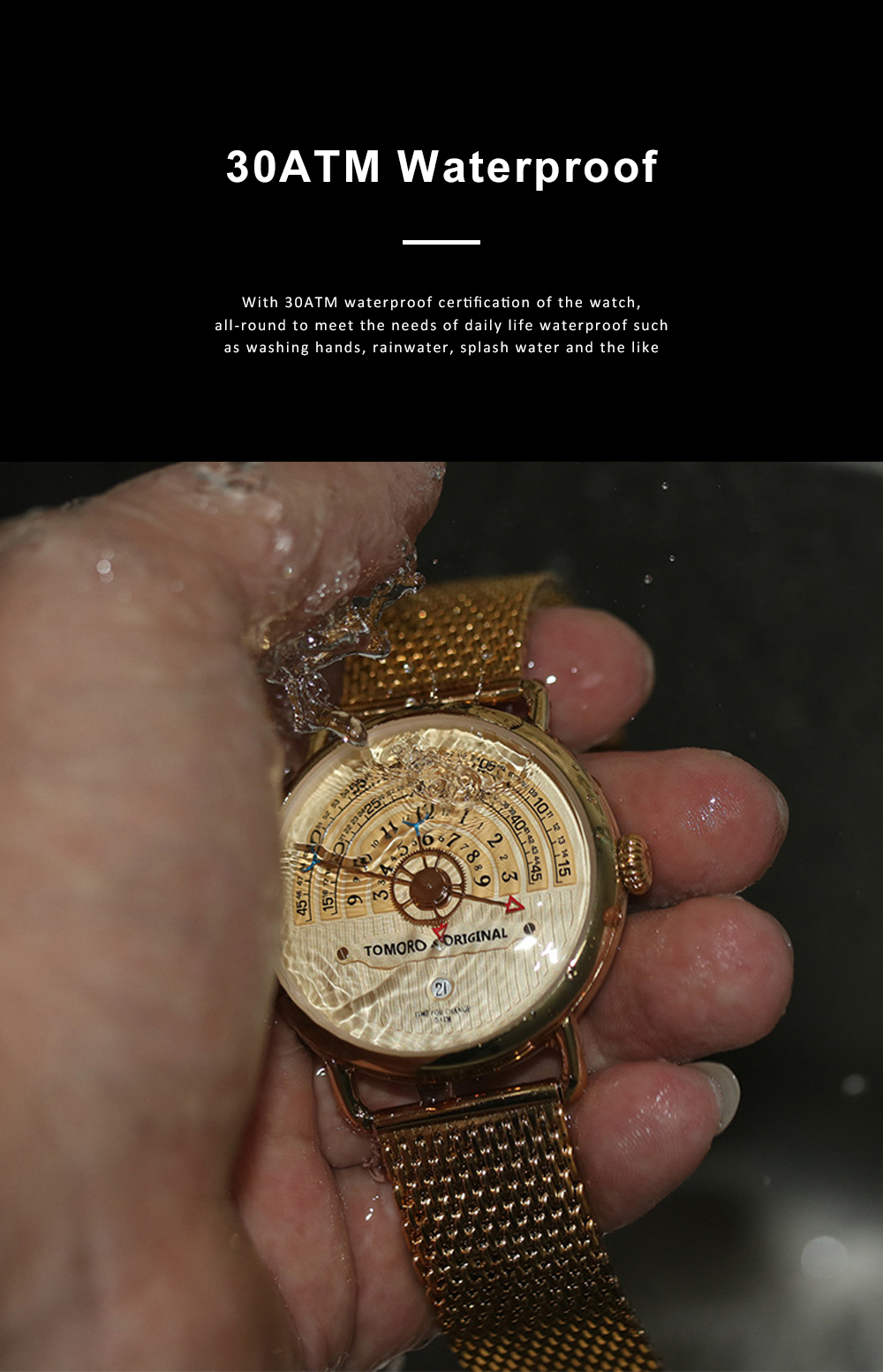 High-grade Full Gold Men's Watch Time Epoch Reincarnation Watch Creative New Concept Large Dial Gold Wristwatch 9