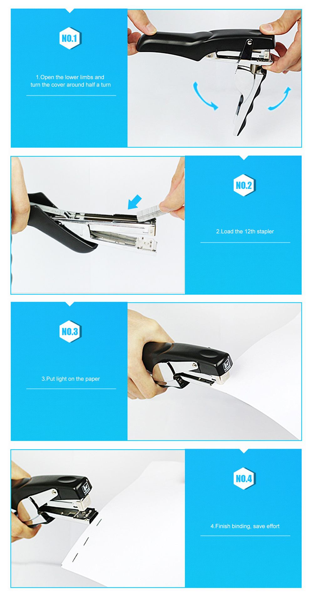 Office Stationery Hand-held Pliers Labor-saving Stapler Binding Machine & School Supplies Book Manual Stapler Desktop Paper 7