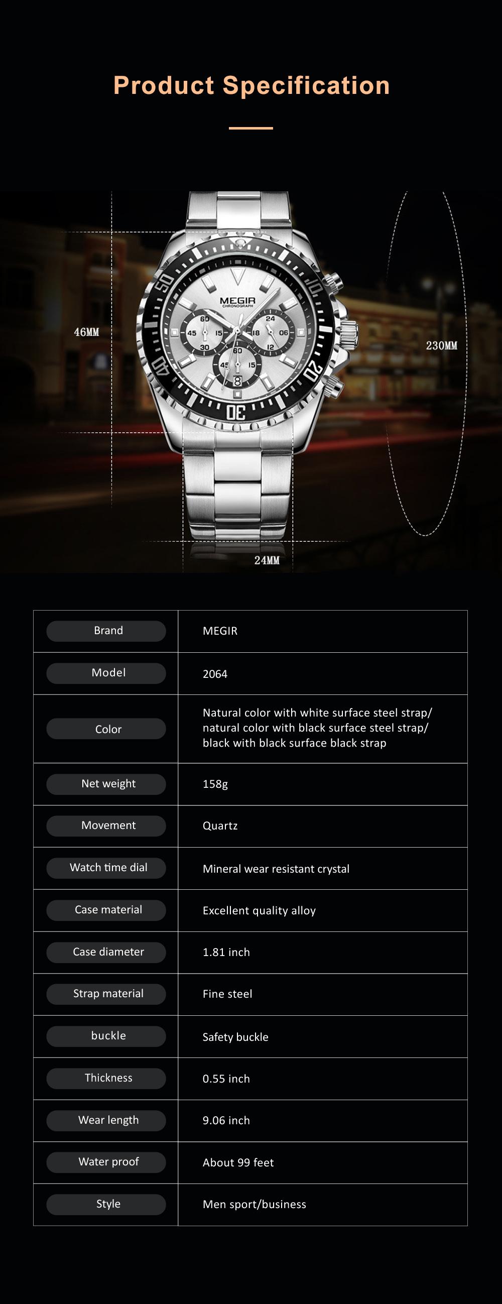 Men's Multifunctional Wrist Watch with Luminous Display and Quartz Movement Fashion Waterproof Watch 8