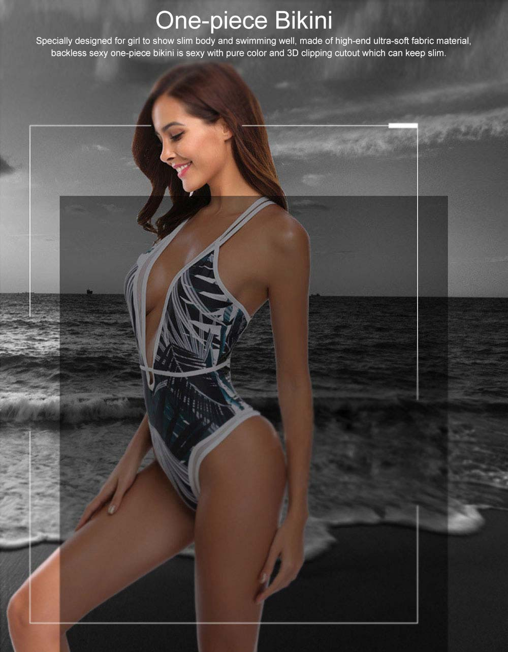 High Fork Swimsuit Backless Sexy One-piece Bikini with 3D Clipping Cutout, Skin-friendly & Comfortable Swimsuit 0