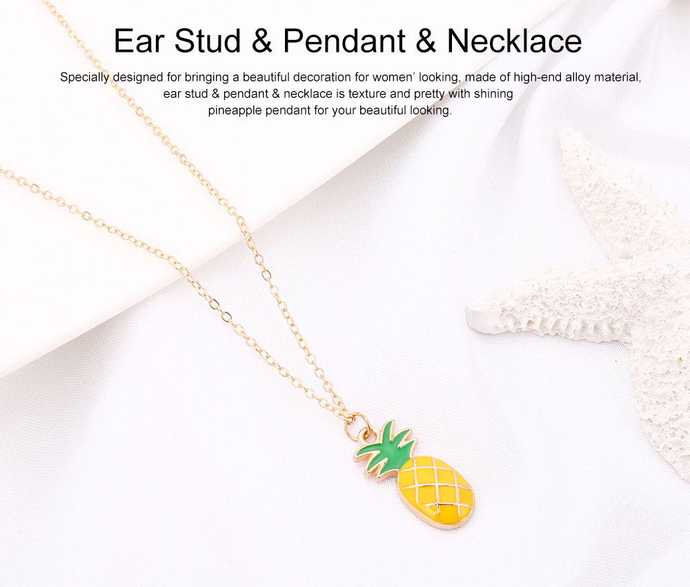 Retro Ethnic Style Ear Stud & Pendant & Necklace with Alloy Dripping Oil & Pineapple Pendant, Best Gift for Ladies 0