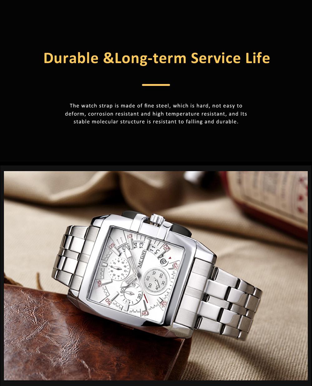 Men's Sports Watch Square Quartz Movement 3ATM Waterproof and Multi Function Wrist Watch 6