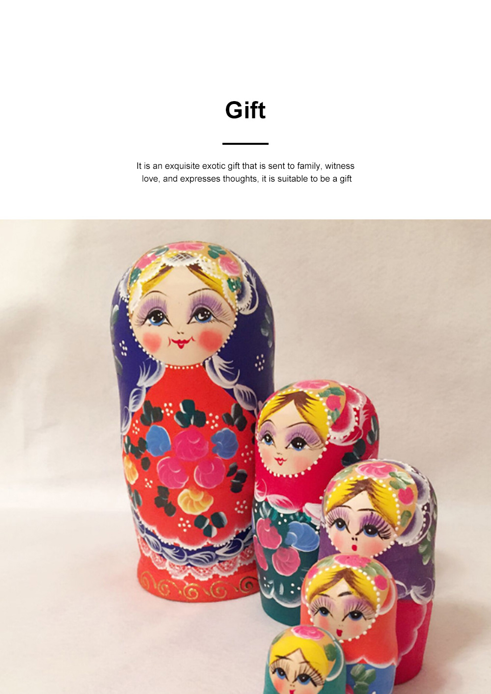 Matryoshka Dolls Nesting Stacking Wooden Russian Toys with Flower Ornament Hand Painted Wood Souvenir Folk Art Crafts 1