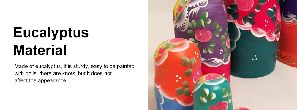 Matryoshka Dolls Nesting Stacking Wooden Russian Toys with Flower Ornament Hand Painted Wood Souvenir Folk Art Crafts 4