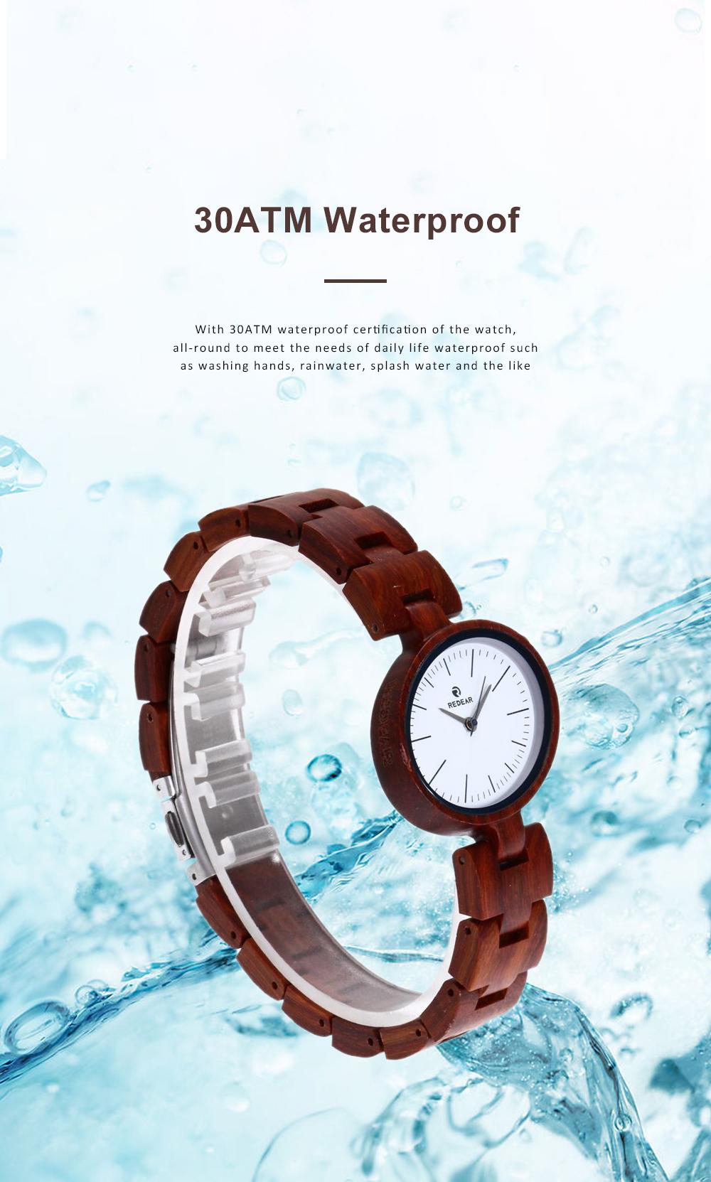 Women Watches Elegant Wood Band Stainless Steel Quartz Wrist Bamboo Watch With Waterproof Wristwatch For Ladies Girls 2