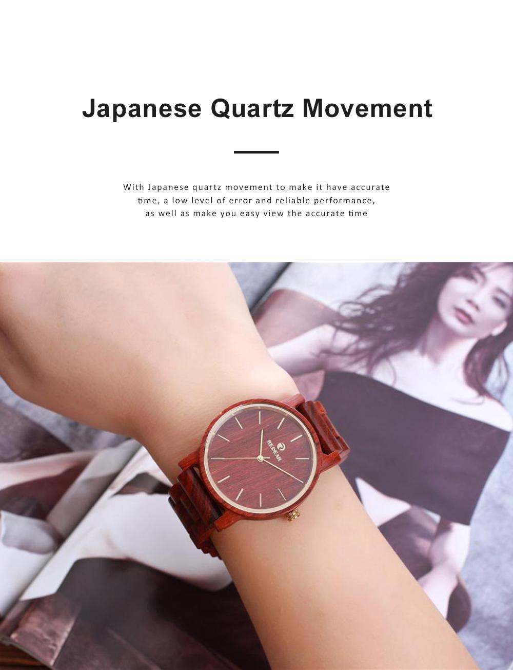 Men Women Watches Elegant Sandal Wood Band Combined Stainless Steel Quartz Wrist Bamboo Watch With Waterproof Wristwatch For Ladies Girls Men 3