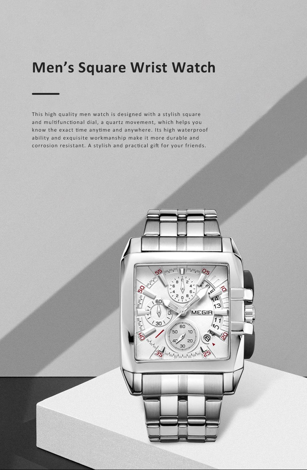 Men's Sports Watch Square Quartz Movement 3ATM Waterproof and Multi Function Wrist Watch 0