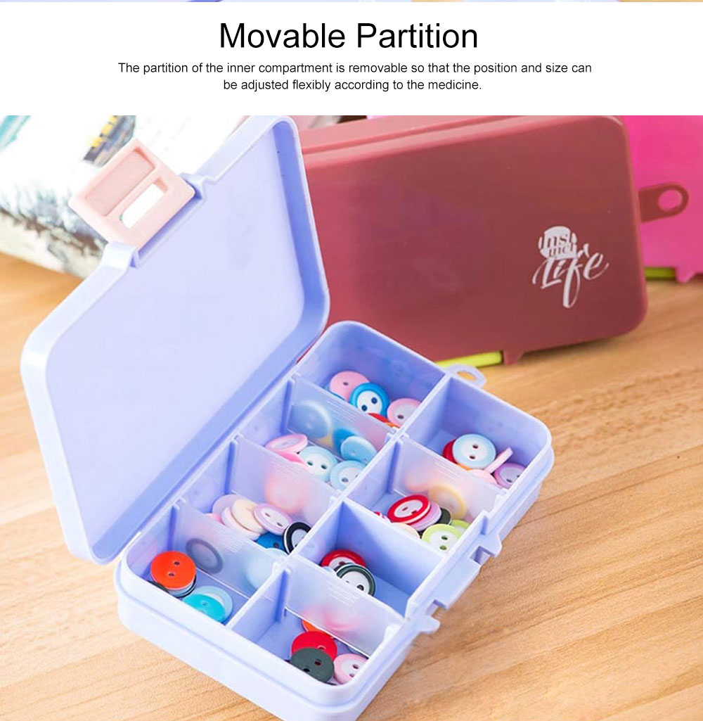 5 Day Weekly Pill Organizer, 15 Slots Large Portable Weekly Pill Case with Movable Partition for Travel Use 5