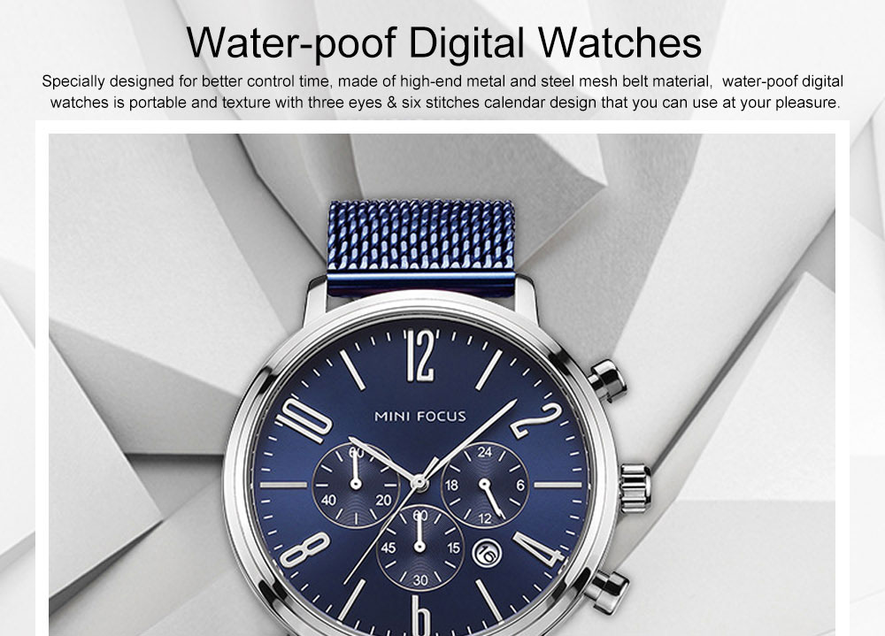 Multifunctional Smart Electronic Men Watch, Three Eyes & Six Stitches Calendar Waterproof Watch with Wear Resistant Crystal Watch Mirror 0