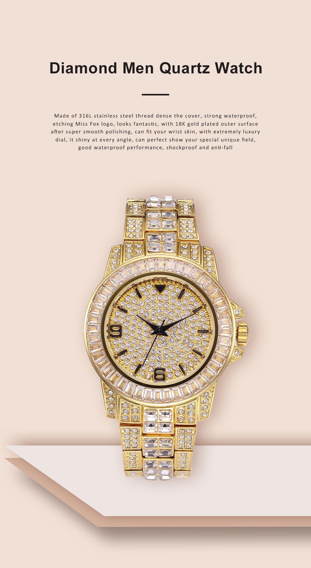 New Men Fashion Exquisite Waterproof Diamond Date Quartz Watch Gold Stainless Steel Business Luxury Mens Watches 0