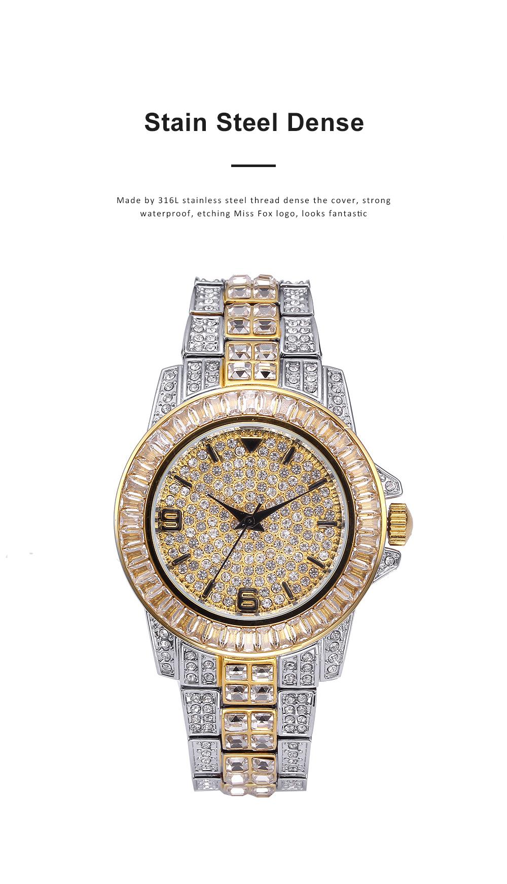 New Men Fashion Exquisite Waterproof Diamond Date Quartz Watch Gold Stainless Steel Business Luxury Mens Watches 1