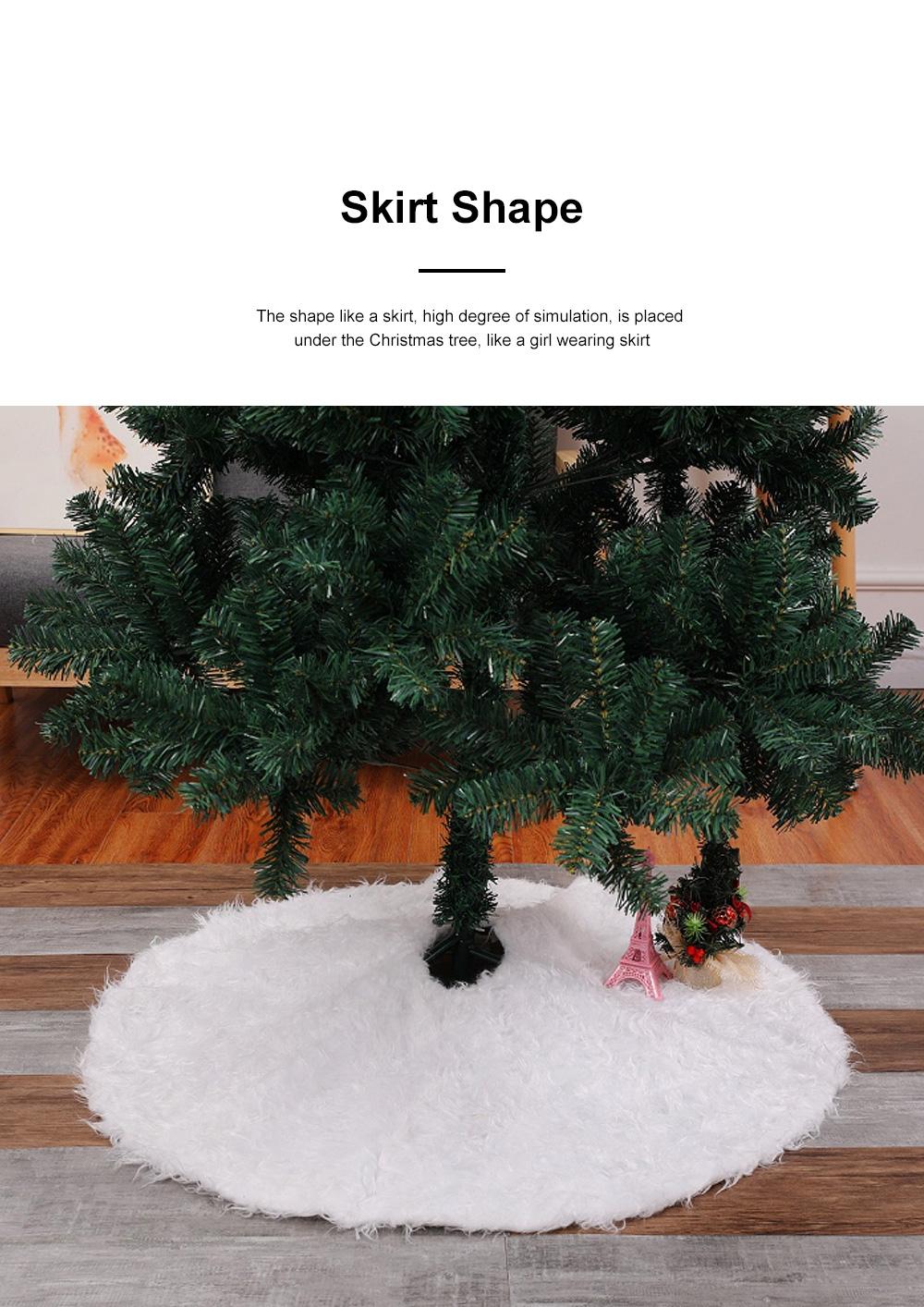 Long Snow Plush Christmas Tree Skirt Non Wovens Cotton Golden Ruffle Edge Base Floor Mat Cover New Year Xmas Party Decoration 2