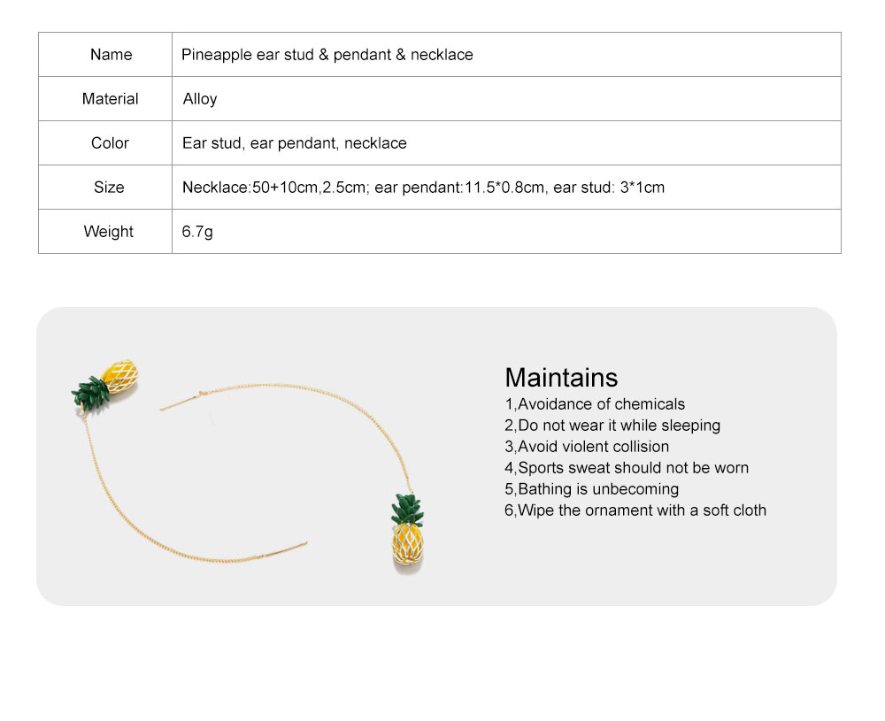 Retro Ethnic Style Ear Stud & Pendant & Necklace with Alloy Dripping Oil & Pineapple Pendant, Best Gift for Ladies 9