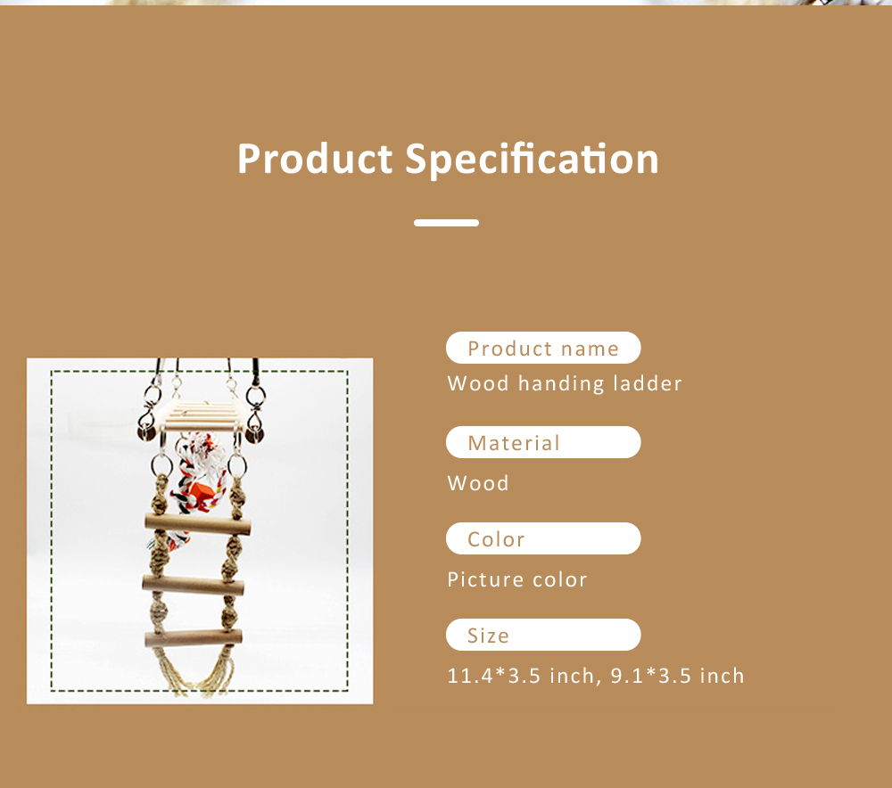 Multifunctional Wood Perch Climbing Ladder Wood Handing Bridge for Small Pet Birds 6