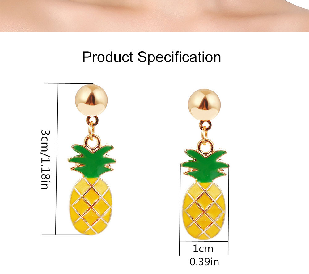 Retro Ethnic Style Ear Stud & Pendant & Necklace with Alloy Dripping Oil & Pineapple Pendant, Best Gift for Ladies 8