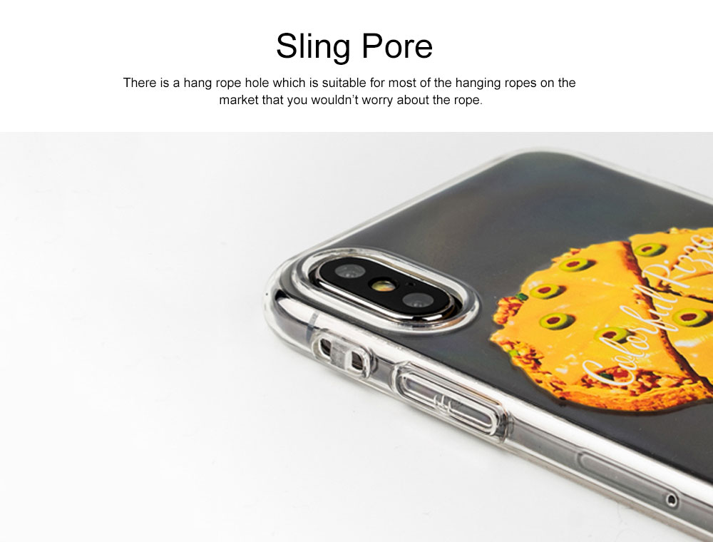 Mobile Phone Case with Cheese Pizza Pattern & Transparent Edge, Precise Audio Charging Hole Location Phone Shell for iPhone 6s Plus, iPhone 7 8, iPhone 7/8 plus, iPhone X/XS MAX, iPhone XR 3