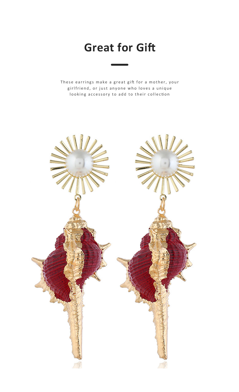 Stylish Seashell Dangle Earrings Conch Design Charming Jewelry Great Gift for Women 5