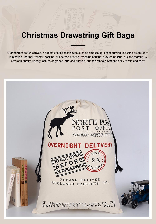 Cheap Recycled Reusable Plain White Organic Calico Cotton Canvas Christmas Drawstring Gift Bags Storage Bag 0