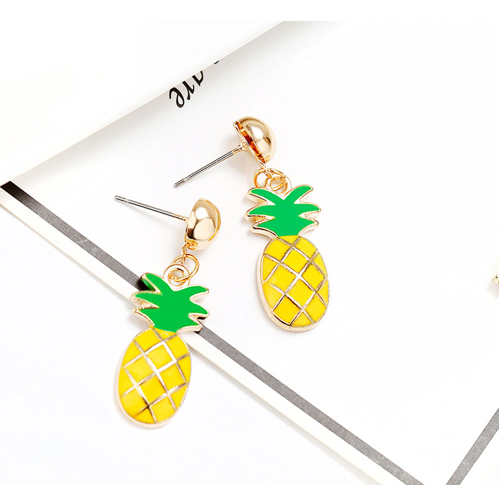 Retro Ethnic Style Ear Stud & Pendant & Necklace with Alloy Dripping Oil & Pineapple Pendant, Best Gift for Ladies 4