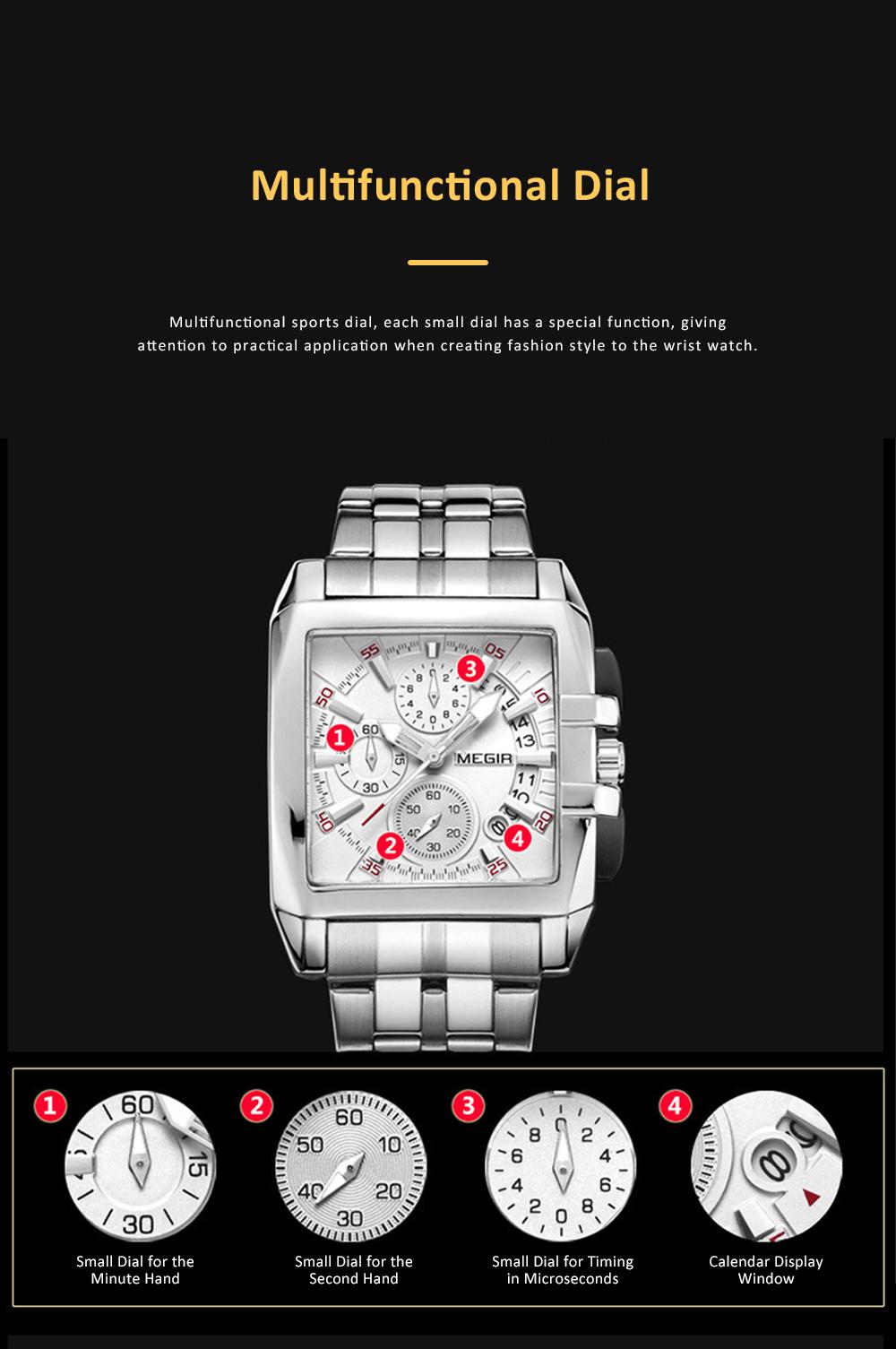 Men's Sports Watch Square Quartz Movement 3ATM Waterproof and Multi Function Wrist Watch 2