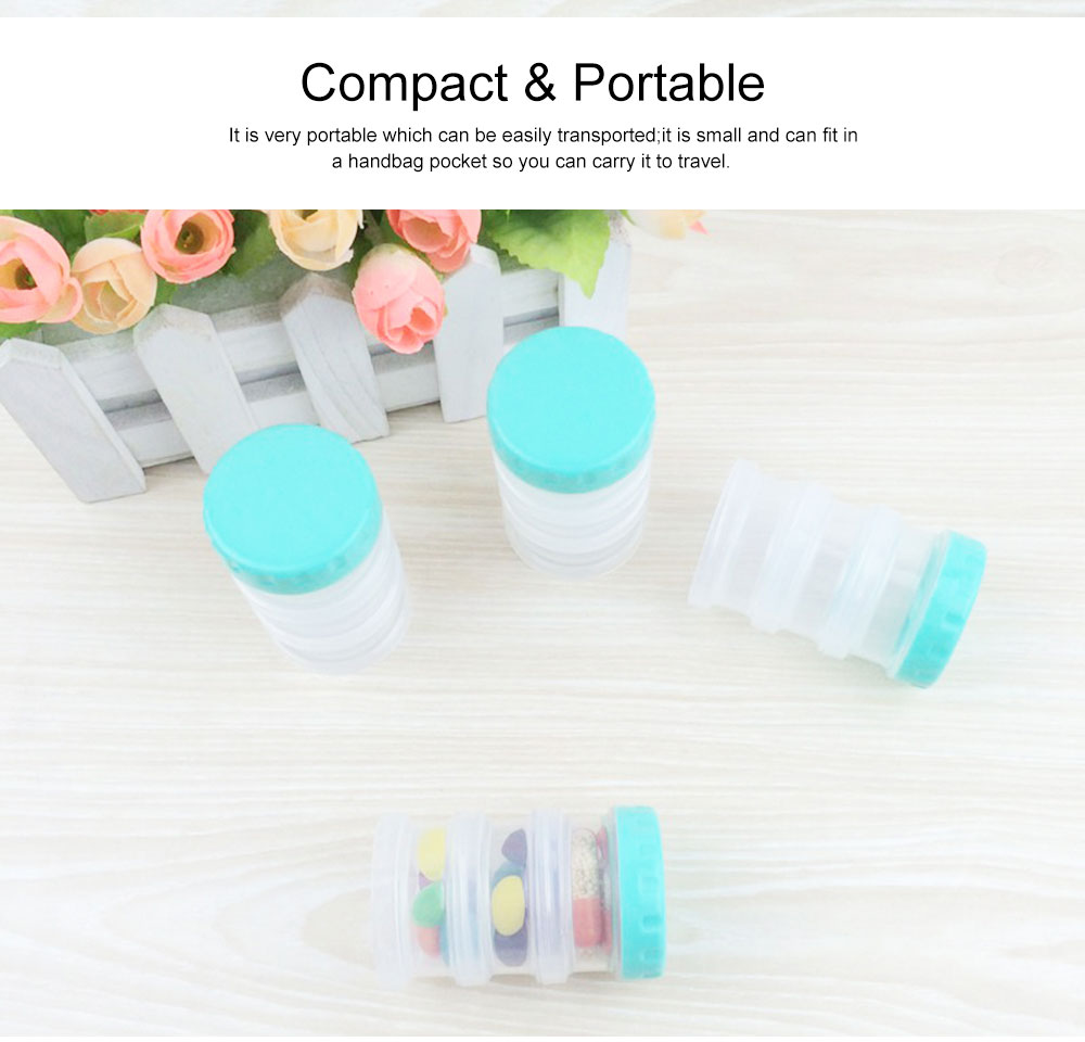Moisture-Proof & Anti-oxidation Portable Medicine Box Set with 3-compartment, Mini Round Bottle of Protein Powder 4