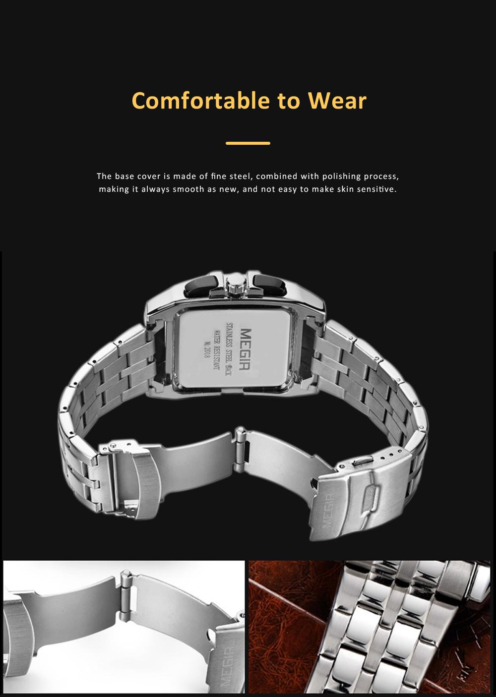 Men's Sports Watch Square Quartz Movement 3ATM Waterproof and Multi Function Wrist Watch 4