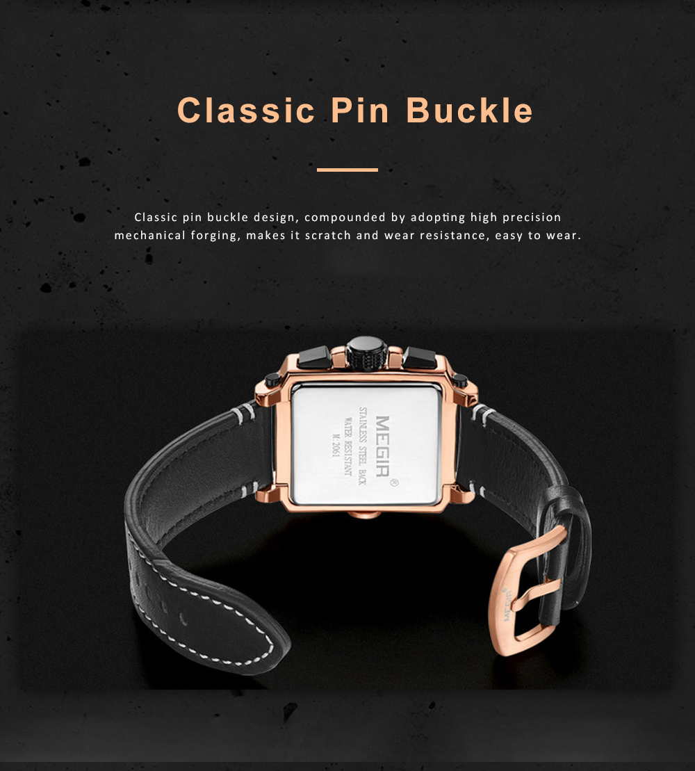 Retro Oblong Watch for Men with Quartz Movement and Leather Strap Waterproof Wrist Watch with Luminous Display 9